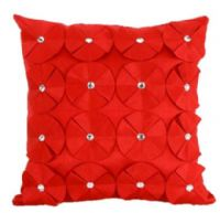 3D SHINY DIAMANTE CIRCLED RUFFLE DESIGNER FILLED CUSHION RED COLOUR LARGE SIZE